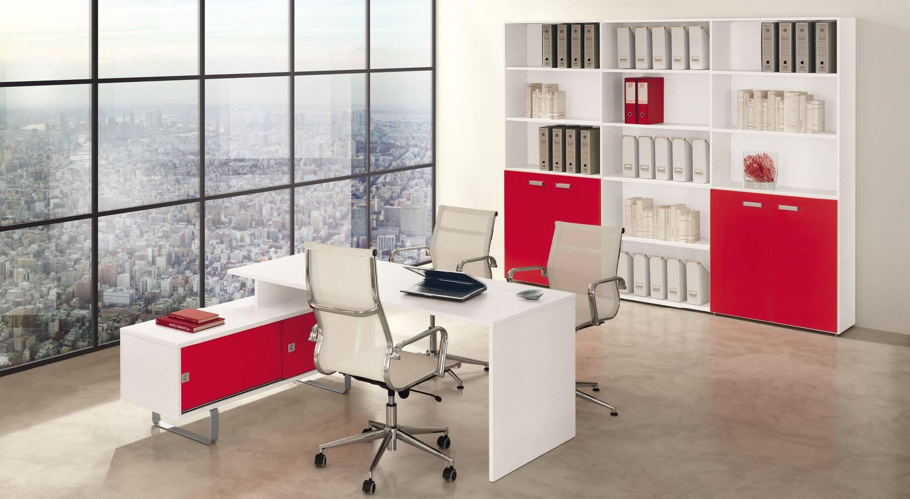 Bureau blanc frene rouge ideal mobili