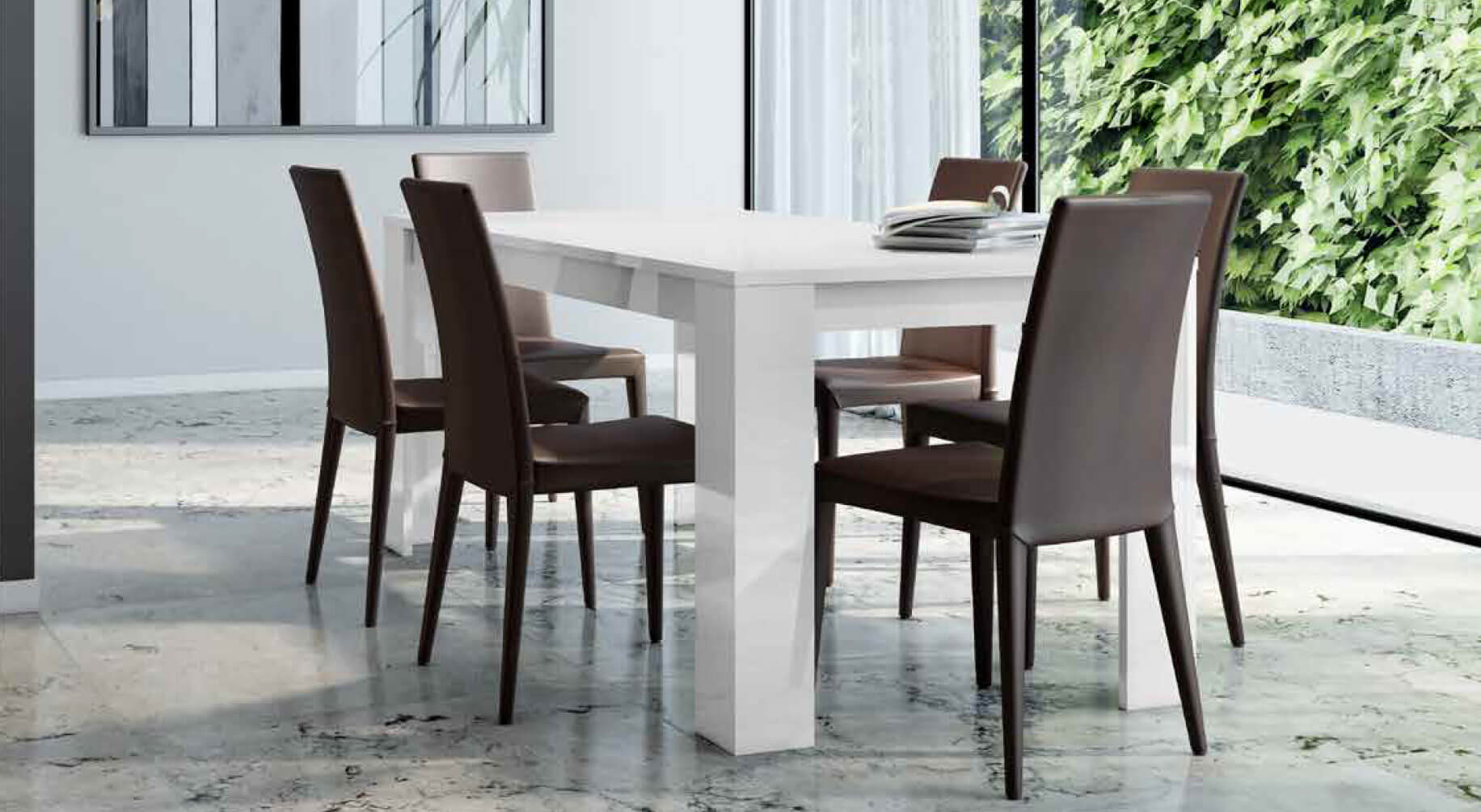 Table blanc laqu 202m06bl ideal mobili for Table extensible alger