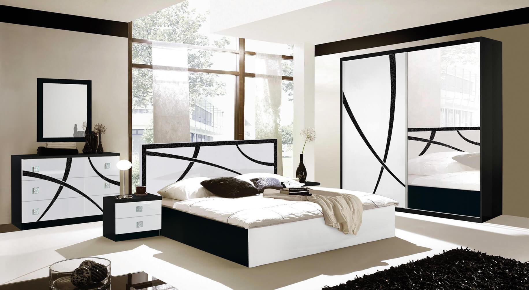 Chambre Milano Coulissante Blanc Noir